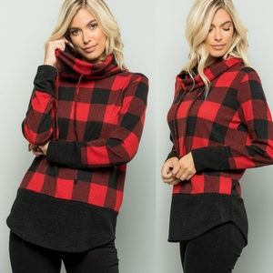HANNAH  Red Plaid Turtleneck Top
